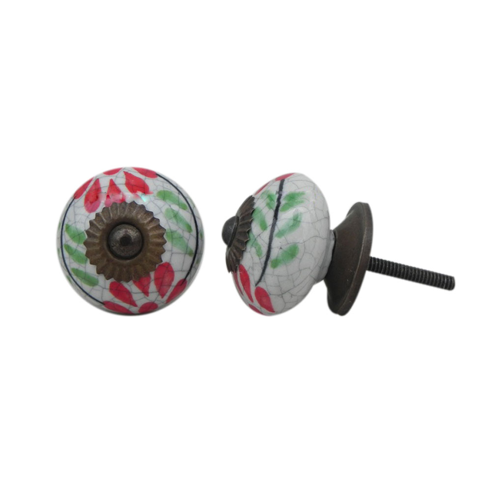 White Red Floral Crackle Ceramic Cabinet Knob