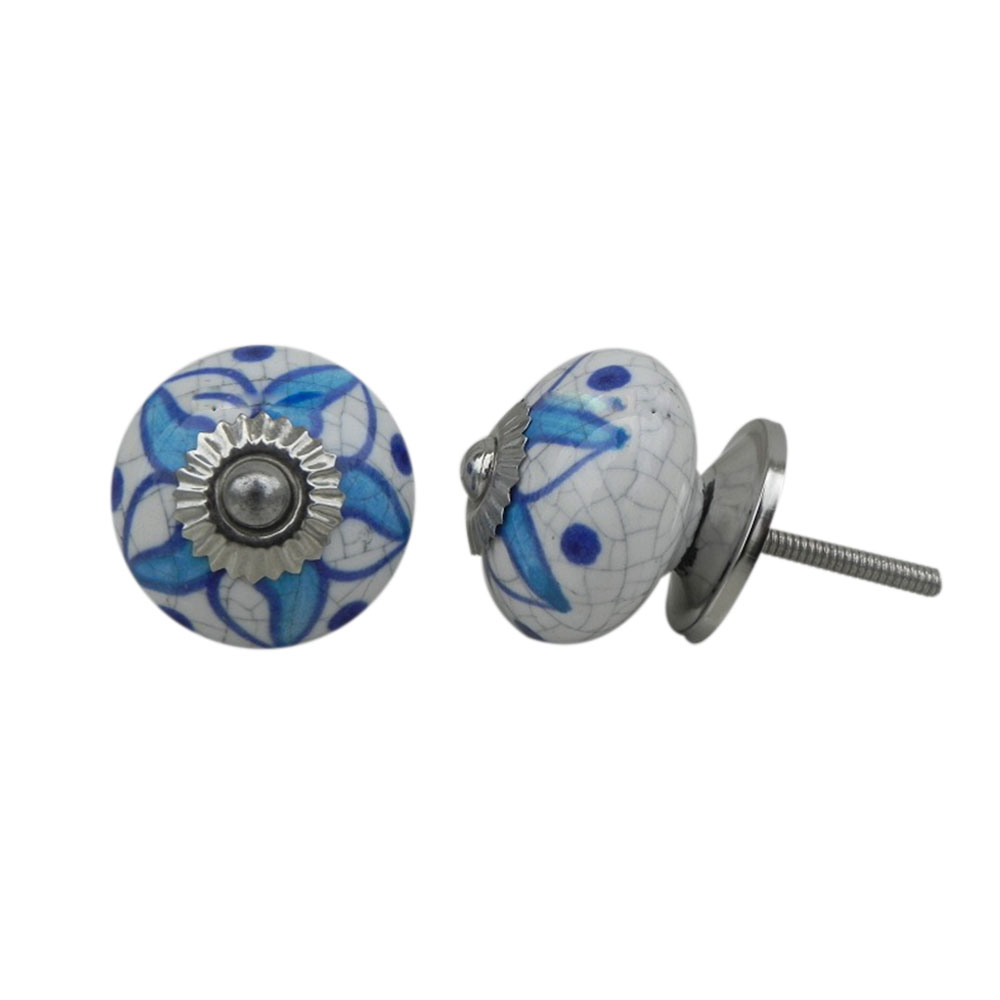 Turquoise Floral Crackle Ceramic Drawer Knob