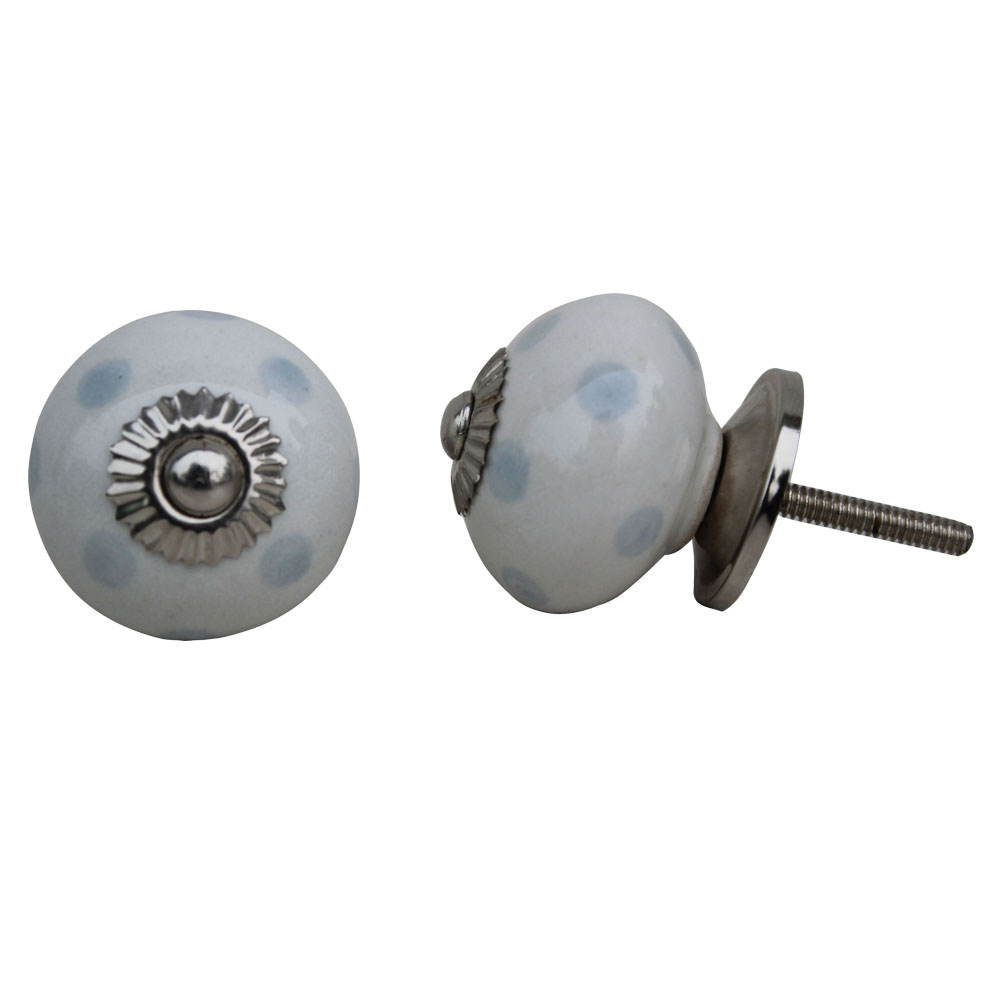 White Light Grey Ceramic Knob