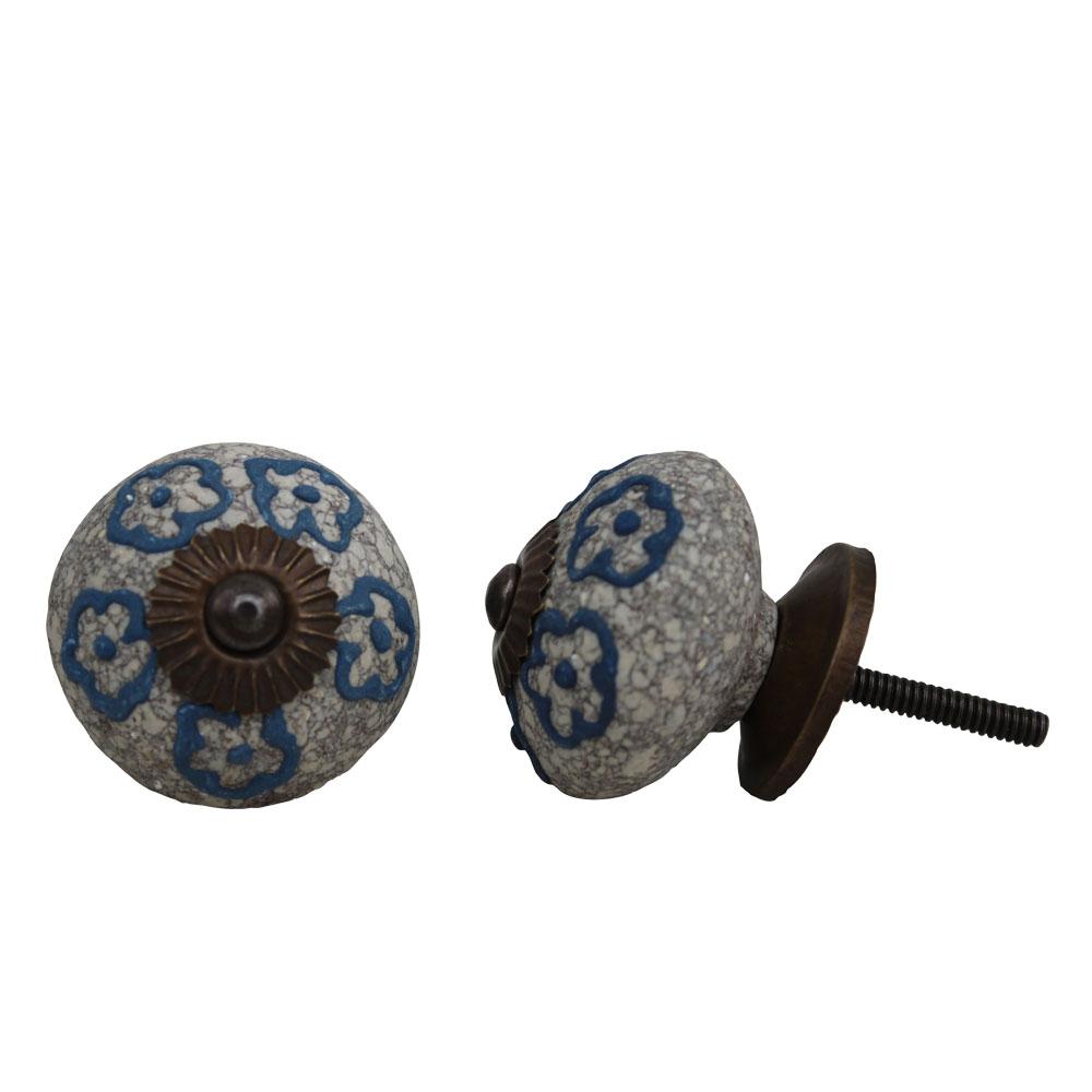 Slate Blue Floral Crackle Ceramic Dresser Knob