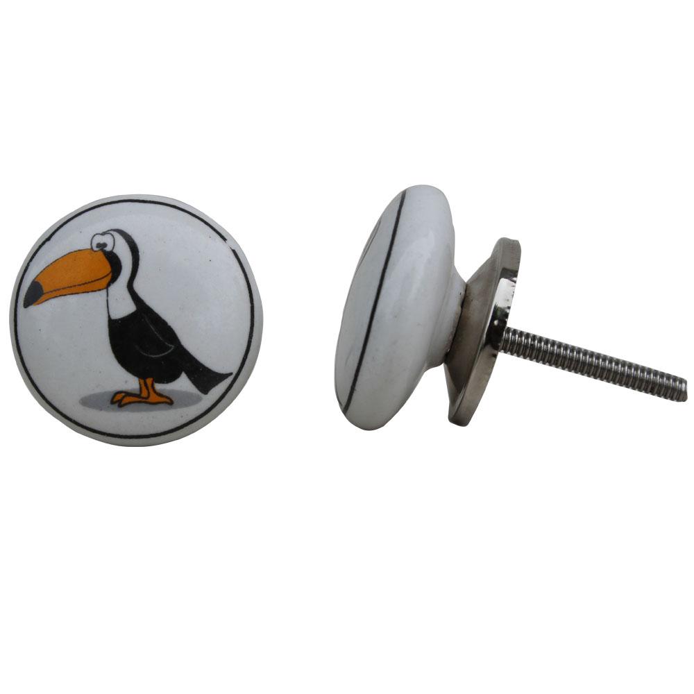 Toucan Bird White Ceramic Knob