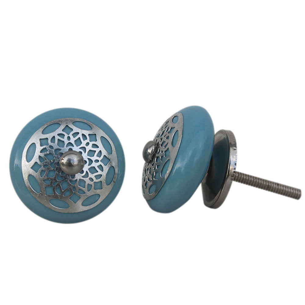 Turquoise Strewn Flat Knob