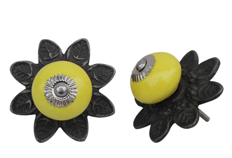 Yellow Ceramic Protia Knob
