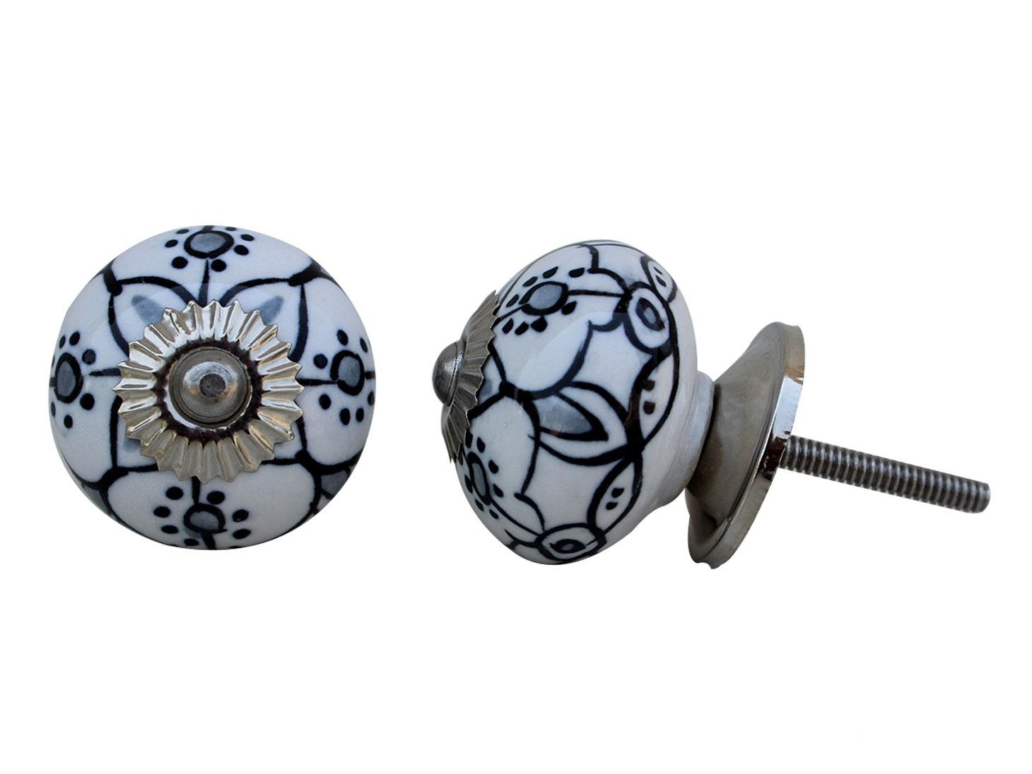 Black Grey Floral Ceramic Knob