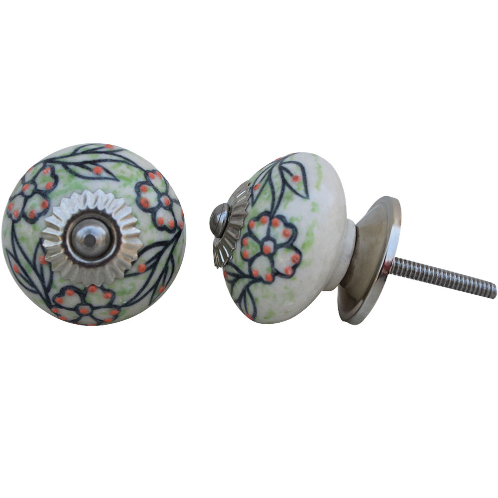Black Leaf Ceramic Knob