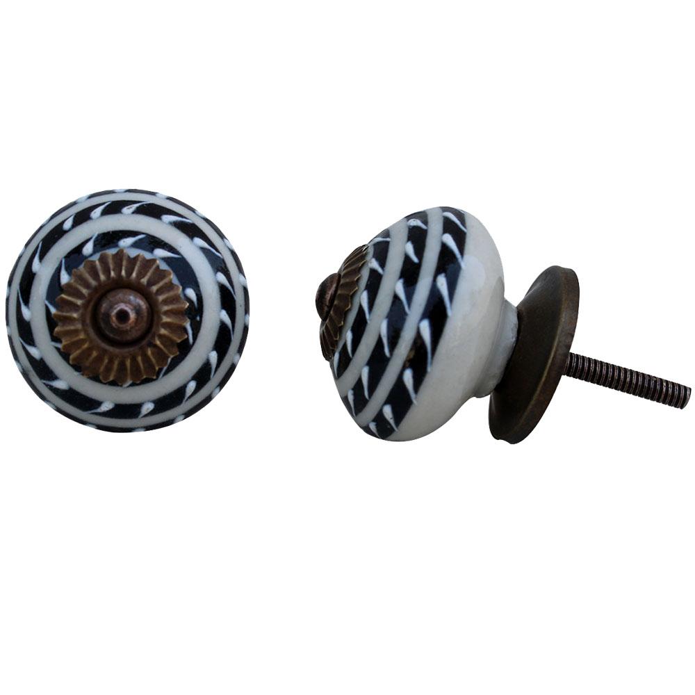 Black Striped Ceramic Knob