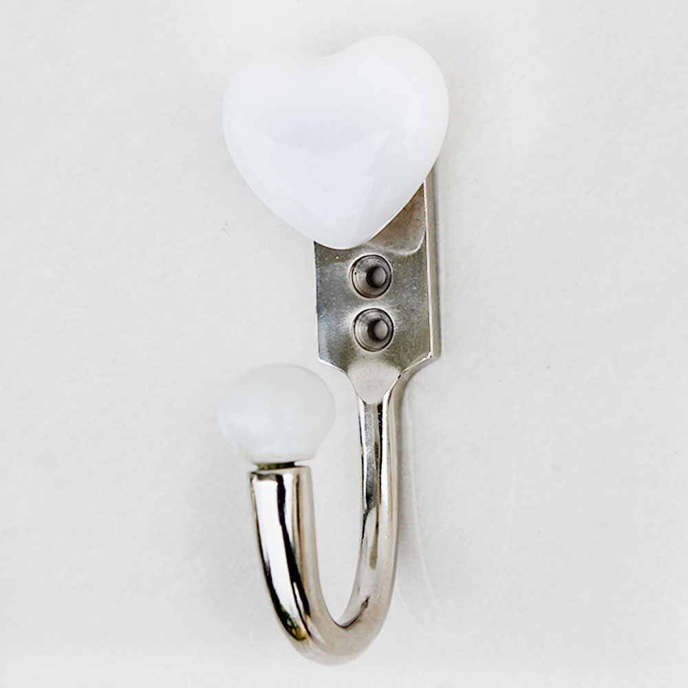 White Heart Ceramic Hooks
