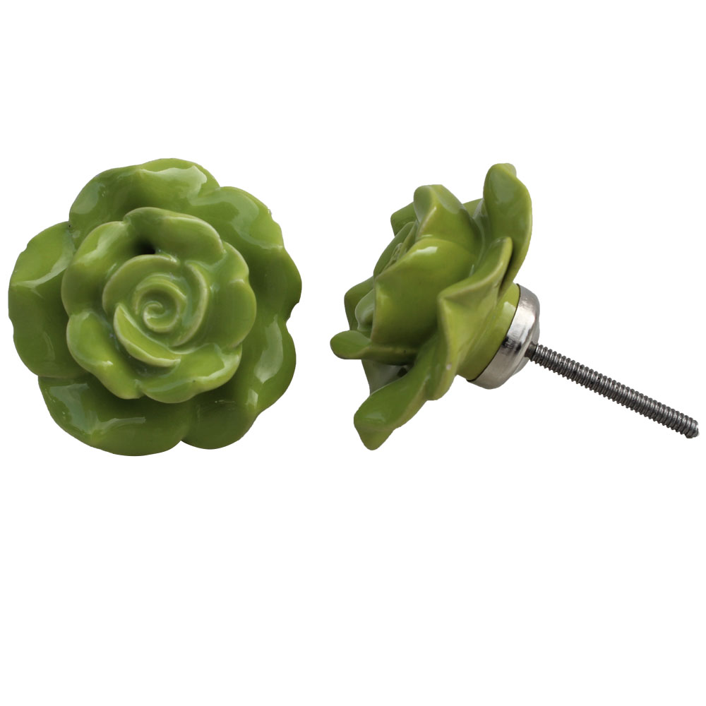 Pea Green Flower Knob