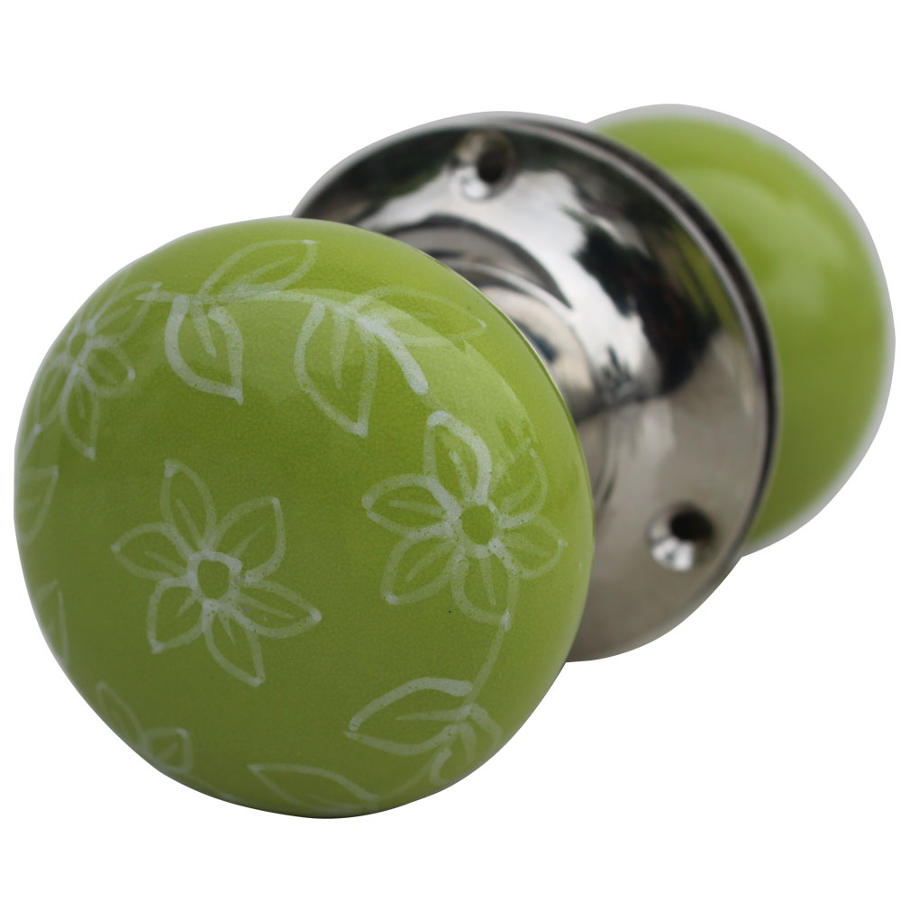 Daffodil Pea Green Door Mortice Handles 2.25
