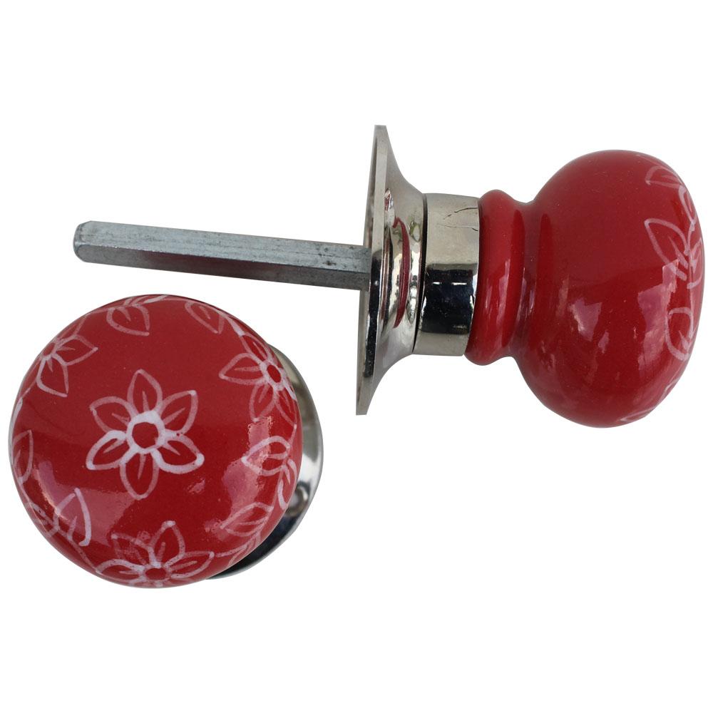 Daffodil Red Mortice Door Handles 2.25
