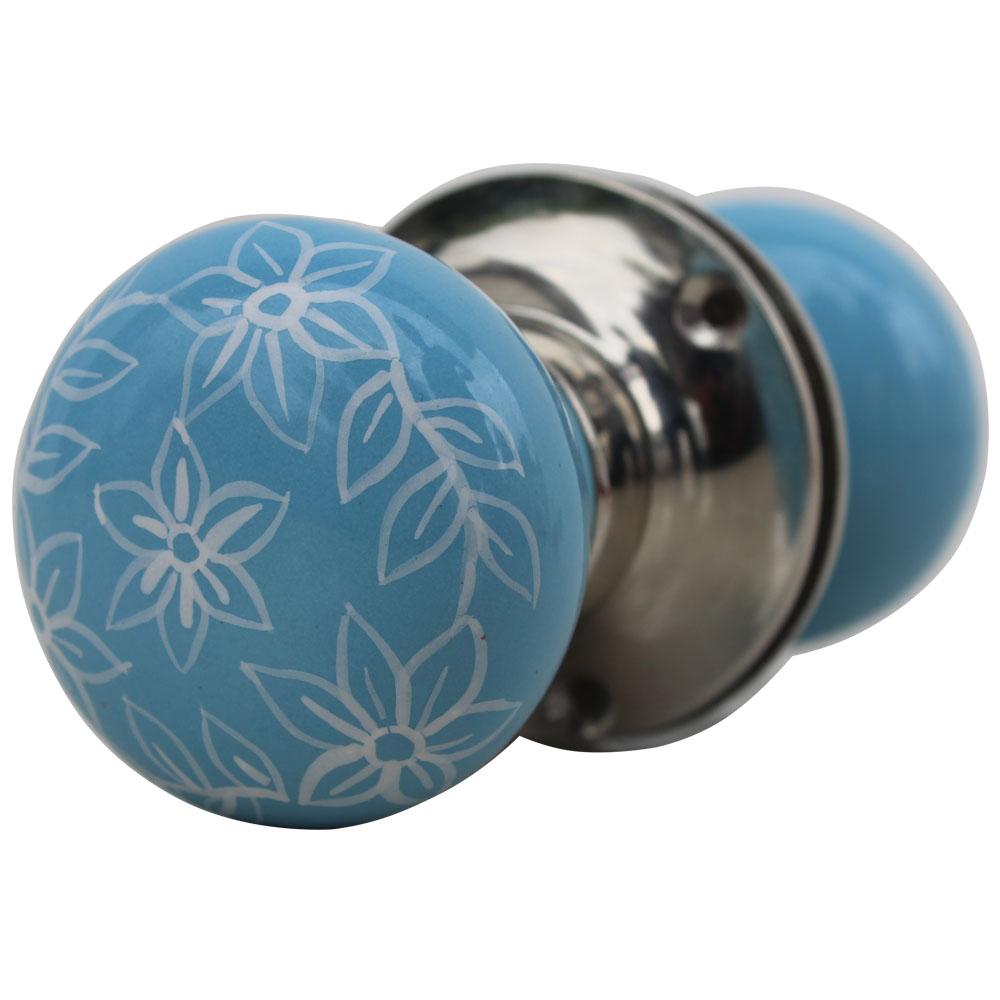 Daffodil Turquoise Mortice Door Handles 2.25