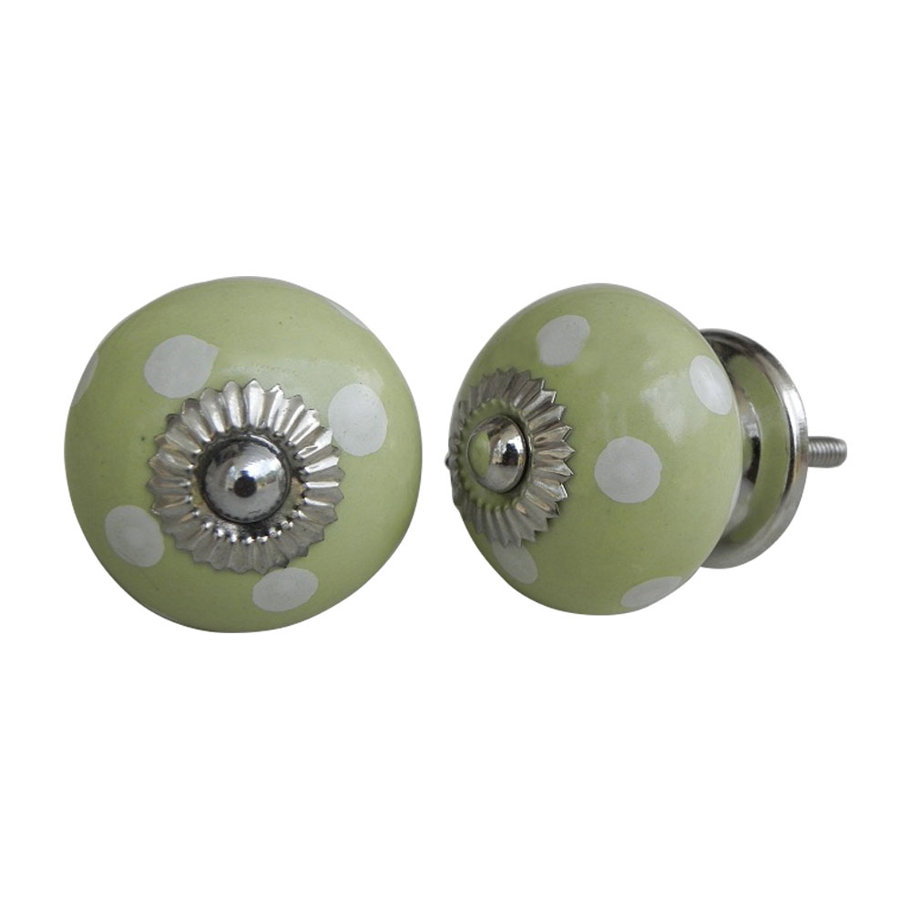 Light Green Dotted Ceramic Knob
