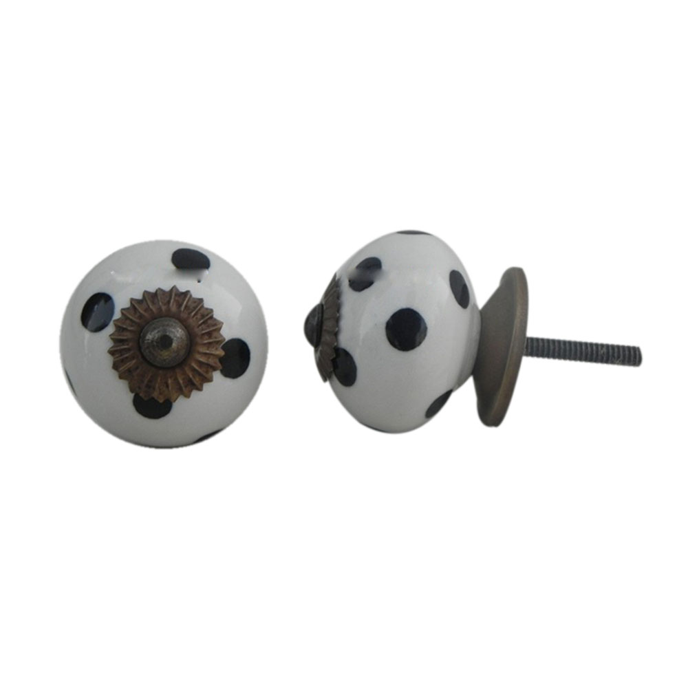 White Black Polka Dotted Furniture Knob