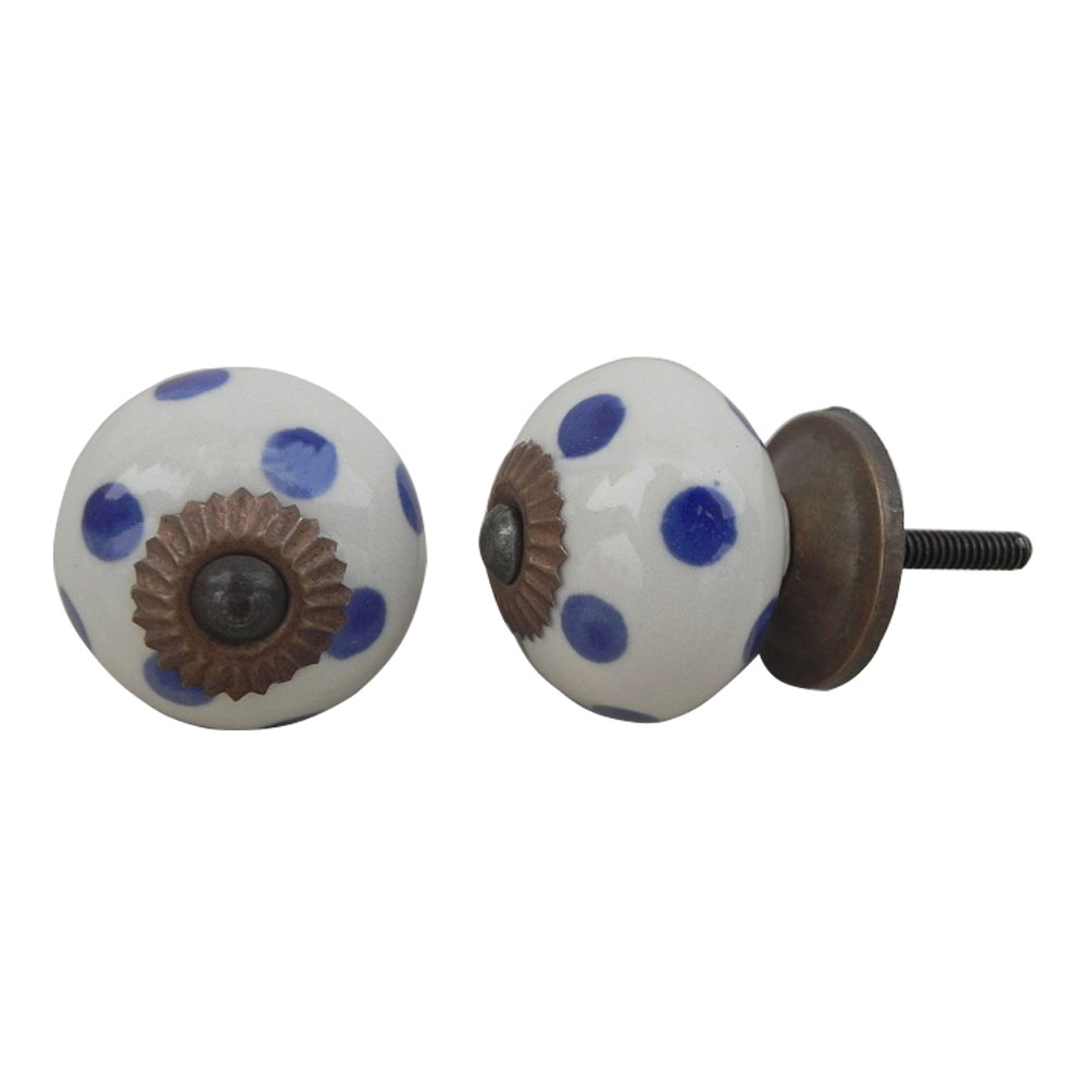 Cream Navy Blue Polka Drawer Knob