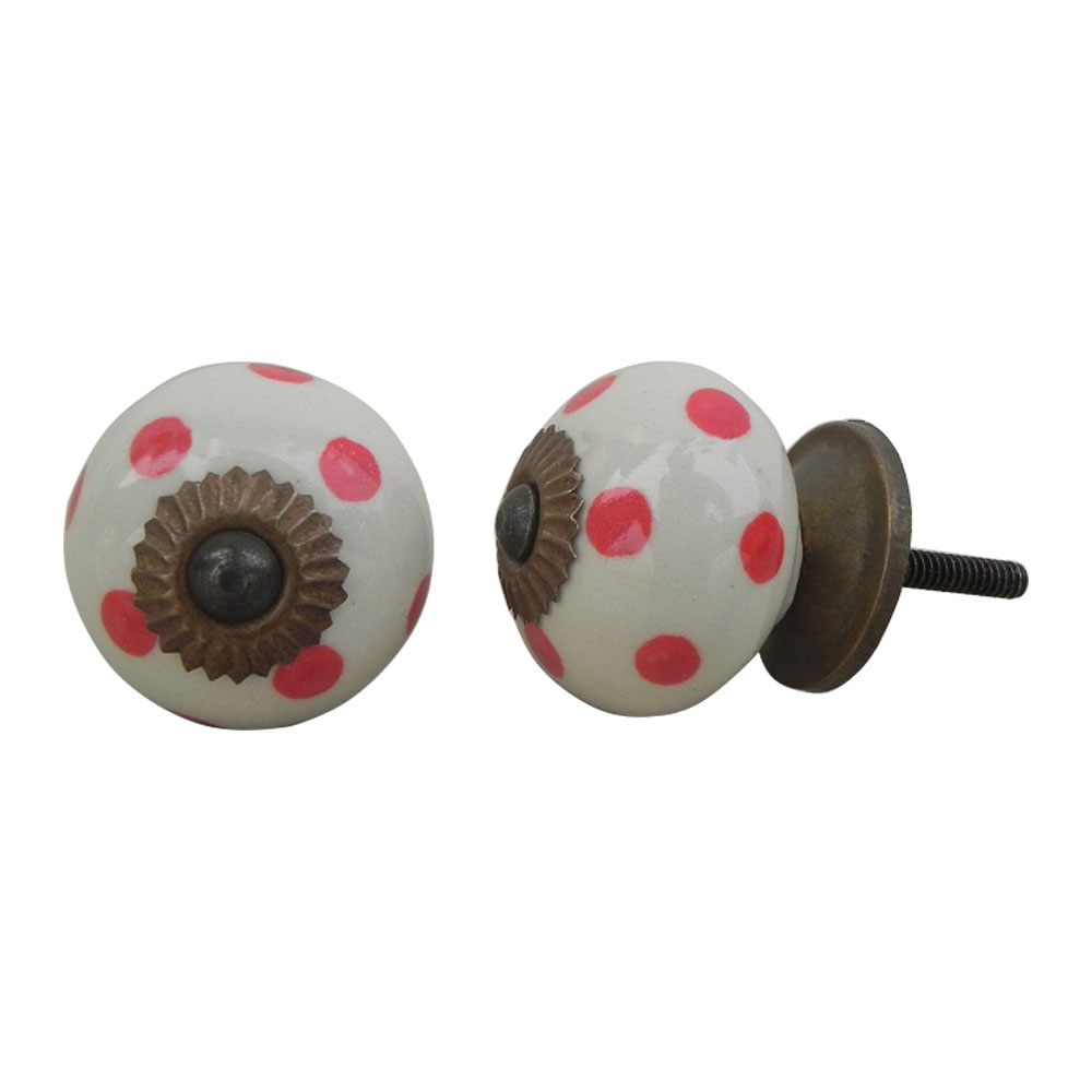Cream Red Polka Dot Ceramic Dresser Knob