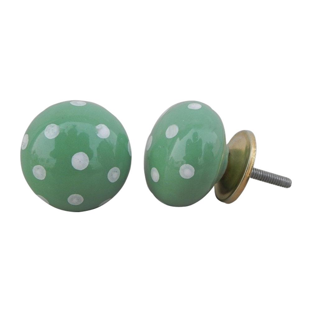 Jade Green White Dot Ceramic Almirah Knob