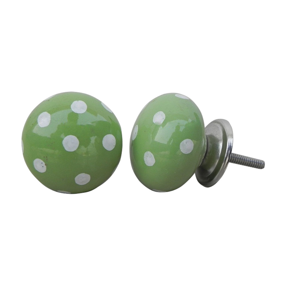Green White Polka Ceramic Cabinet Knob