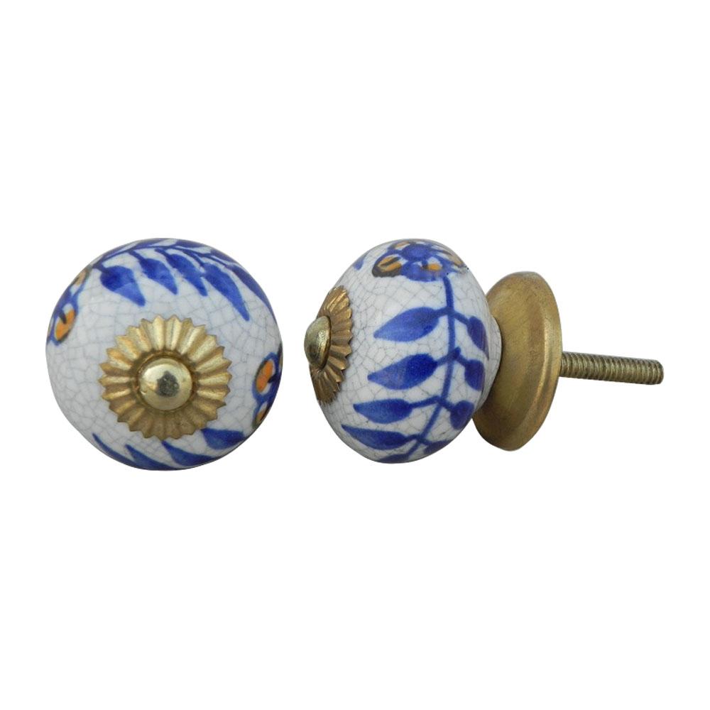 Blue Leaf Crackle Ceramic Cabinet Knob Online