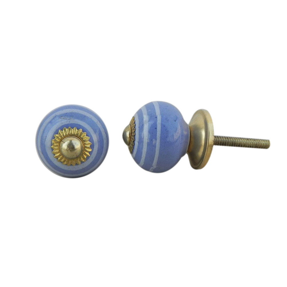 Blue Striped Small Knob