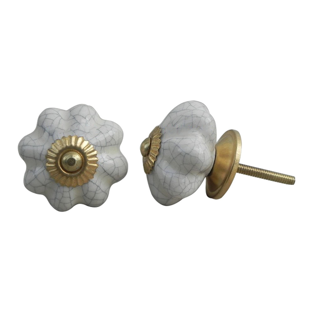 Cream Melon Crackle Ceramic Cabinet Knob Online