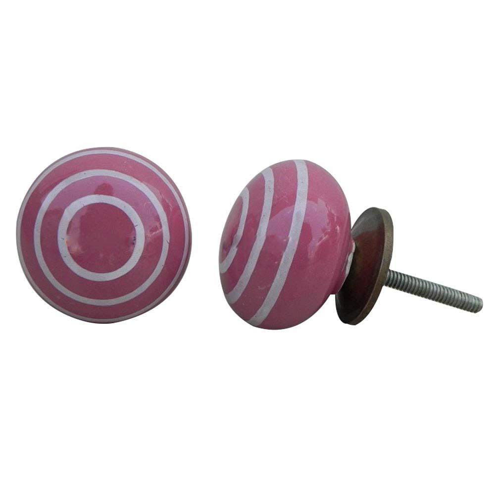 Dark Pink Striped Knob