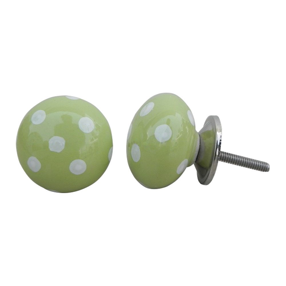 Green White Polka Ceramic Almirah Knob