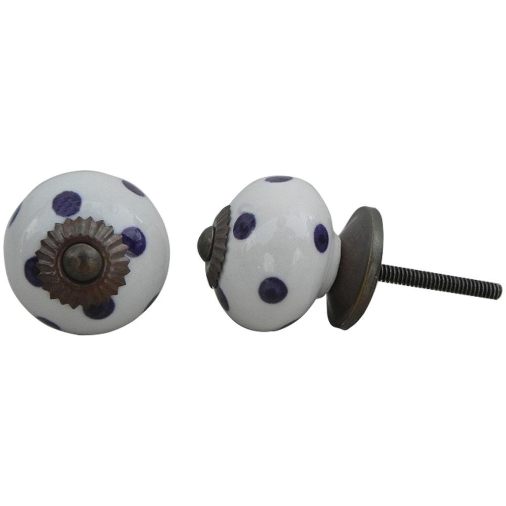 White Dark Purple Dotted Ceramic Furniture Knob