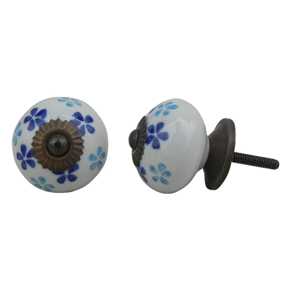 Blue Turquoise Floral Knob (1)