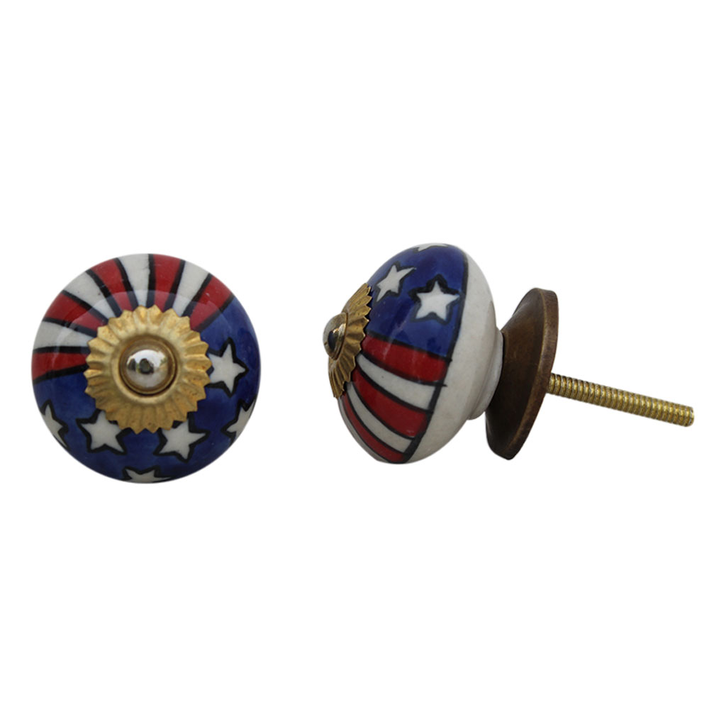 Us Flag Ceramic Knob