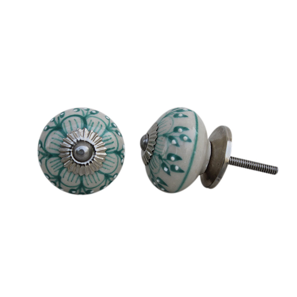 Sea Green Zinnia Flower Ceramic Knob