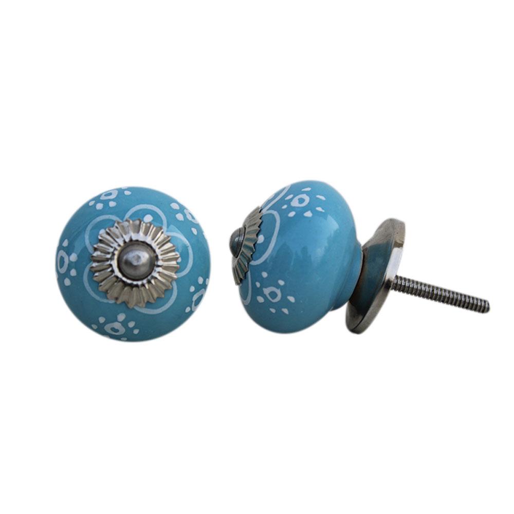 Turquoise Floral Ceramic Knob