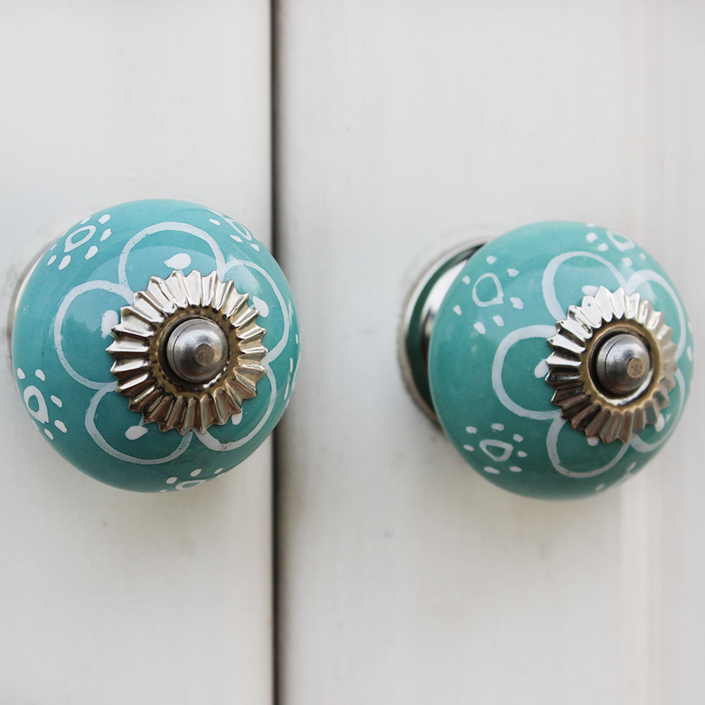 Sea Green Floral Ceramic Knob