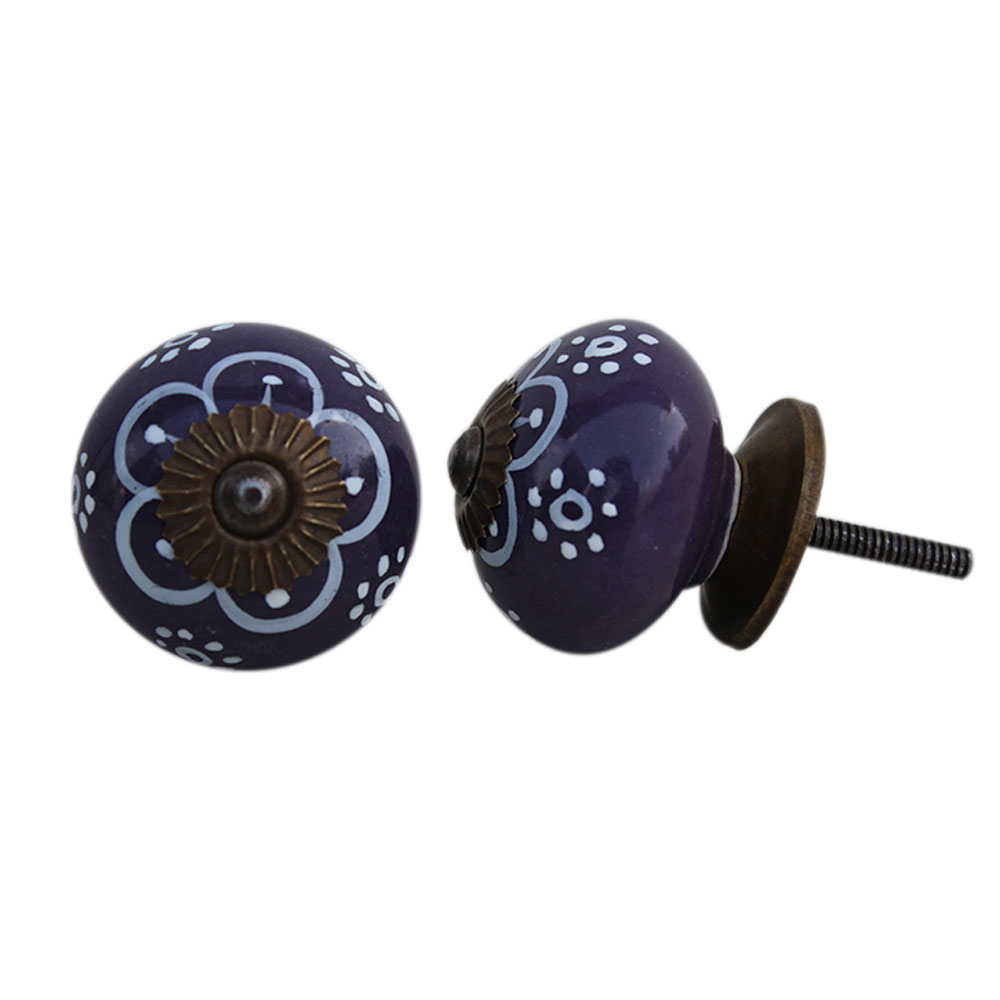 Purple Floral Ceramic Knob