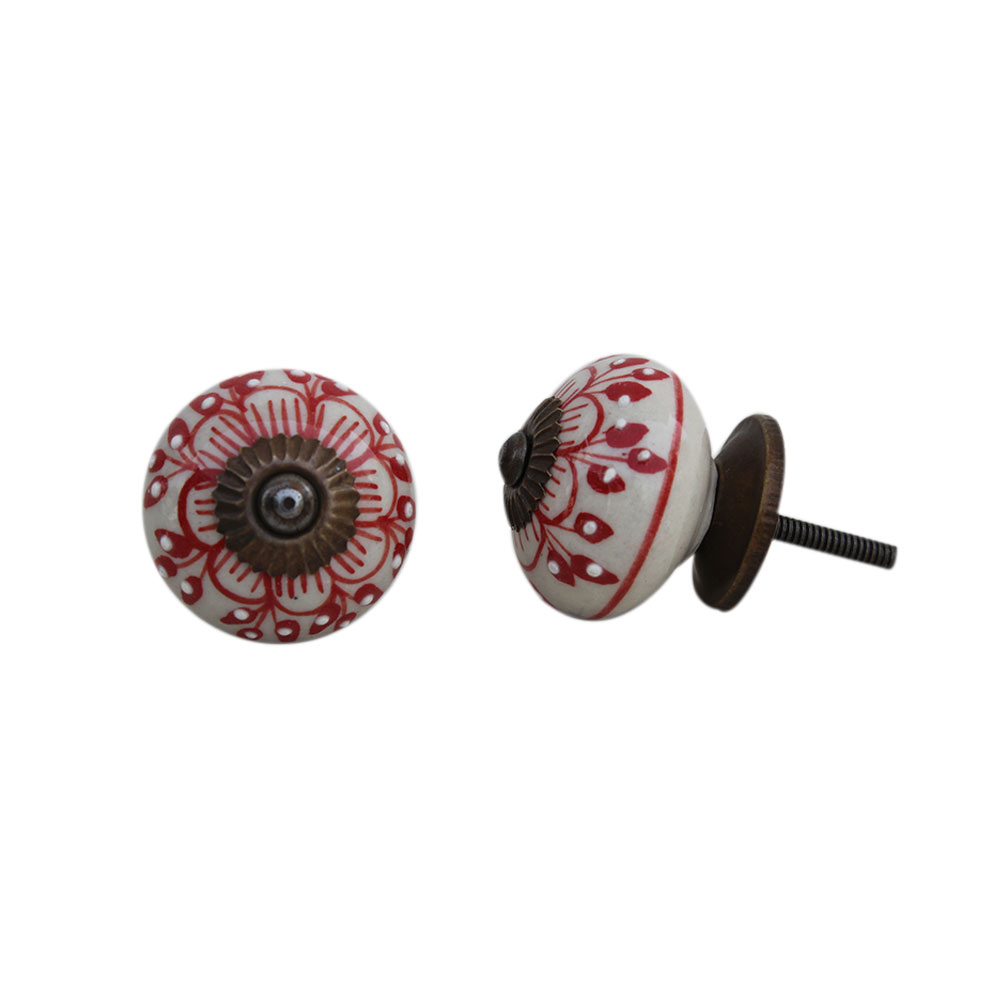 Red Zinnia Flower Ceramic Knob