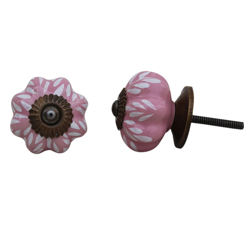 Pink Leaf Medium Ceramic Knob
