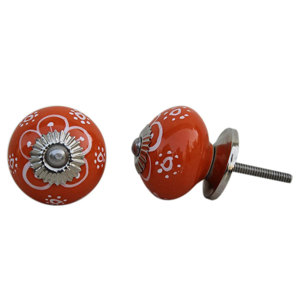 Orange Floral Ceramic Knob