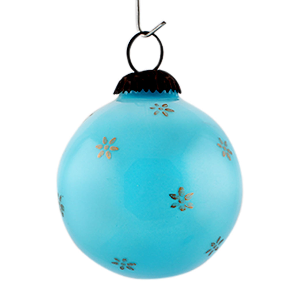 Turquoise Tiny Flower Medium Christmas Hanging