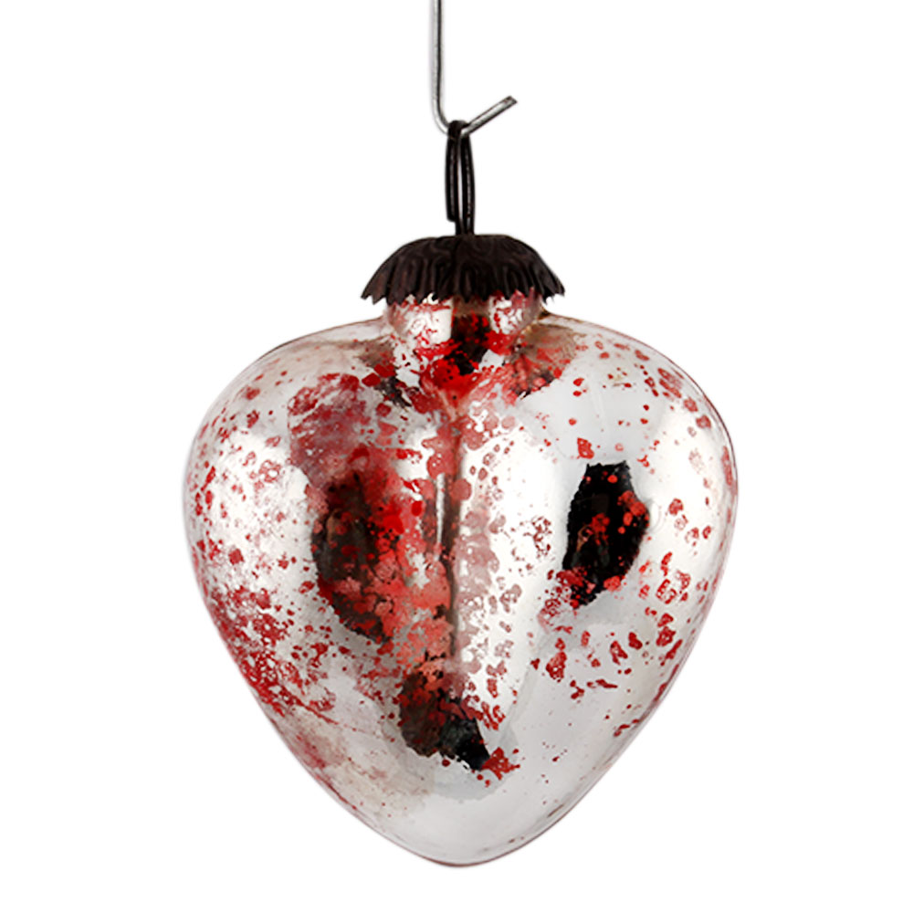 Silver Red Heart Christmas Hanging