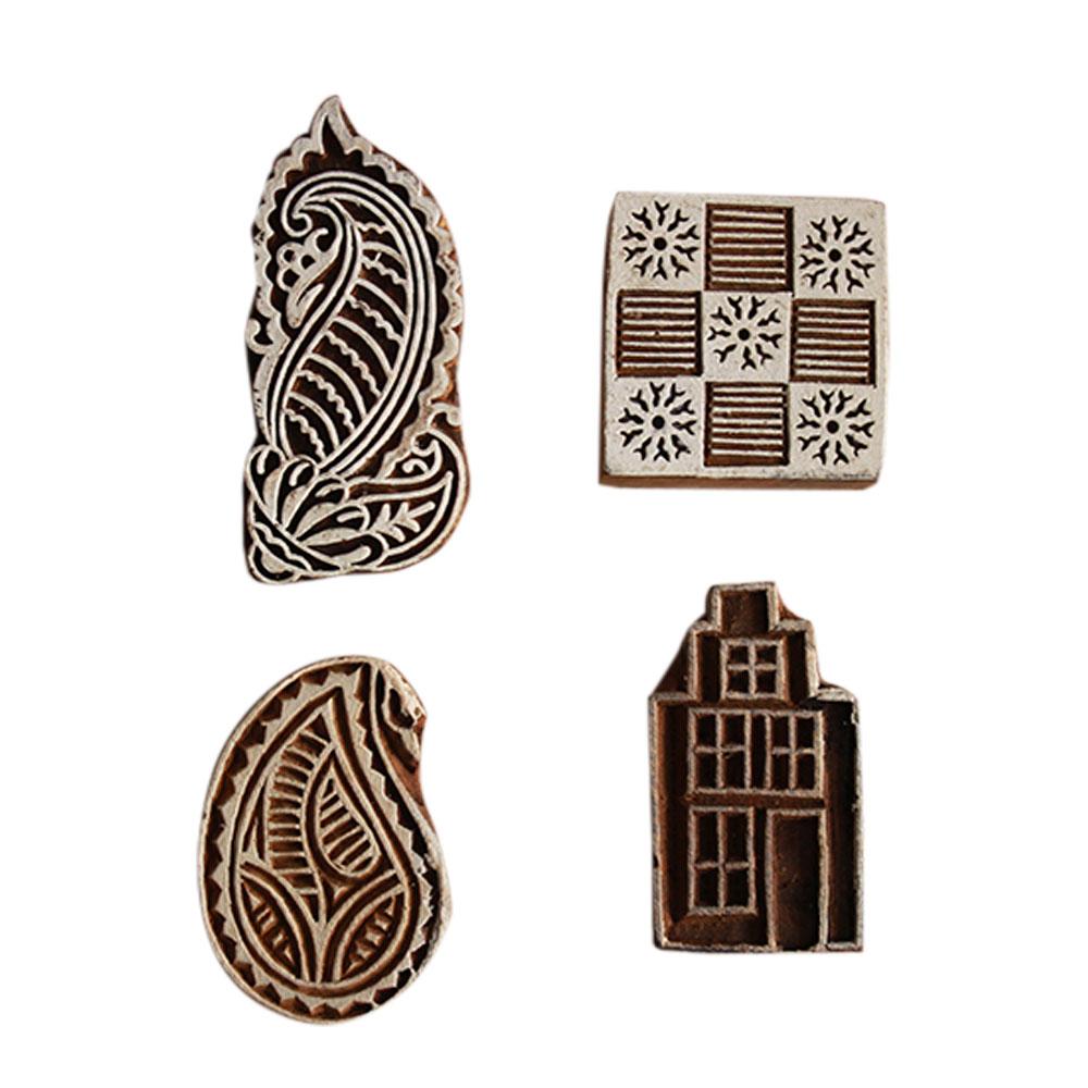 Set  of 4 Piece New Wooden Printing Block