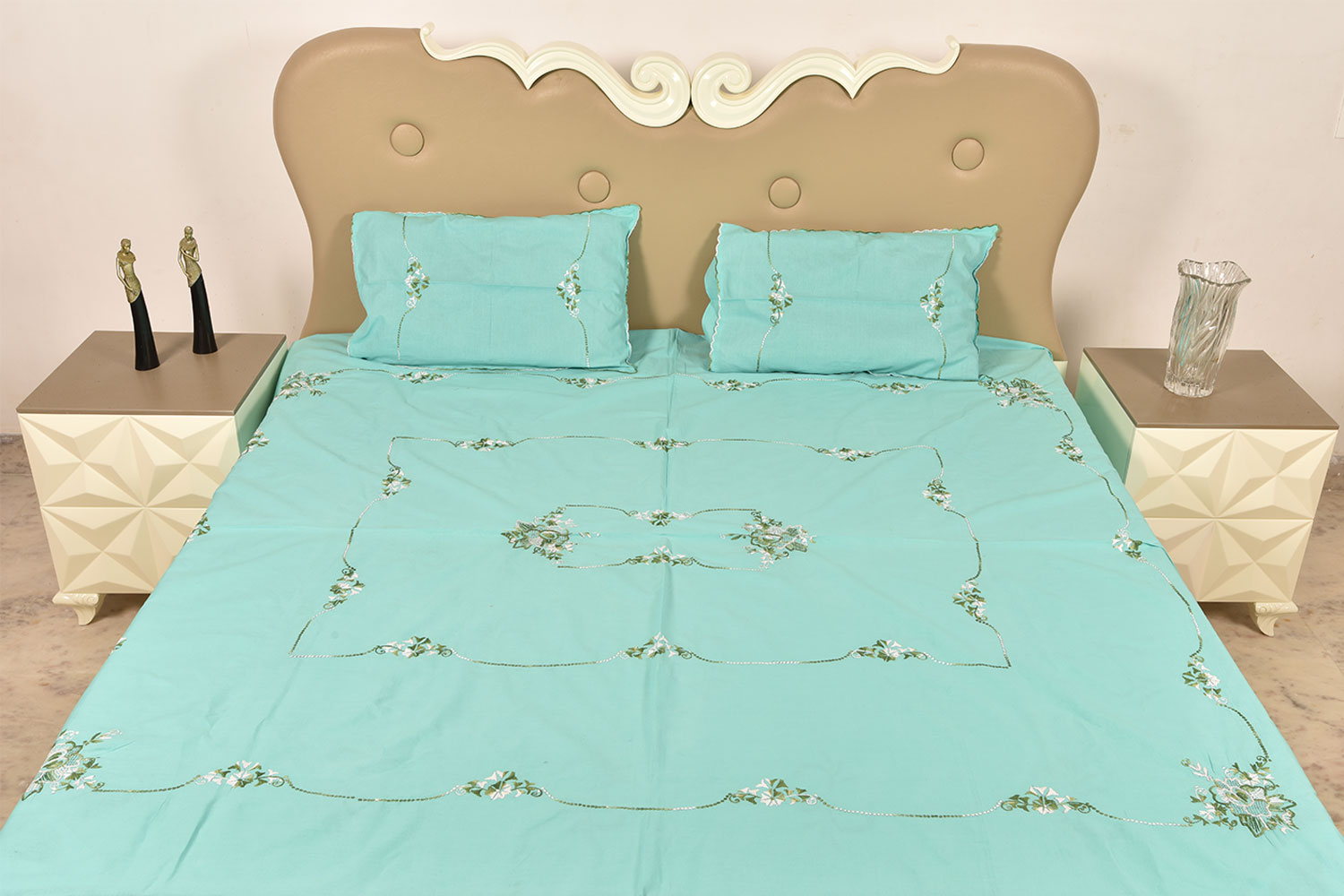 Blue Handmade Double Bed Sheet Linen with Floral Design Beautiful Decorative Stylish