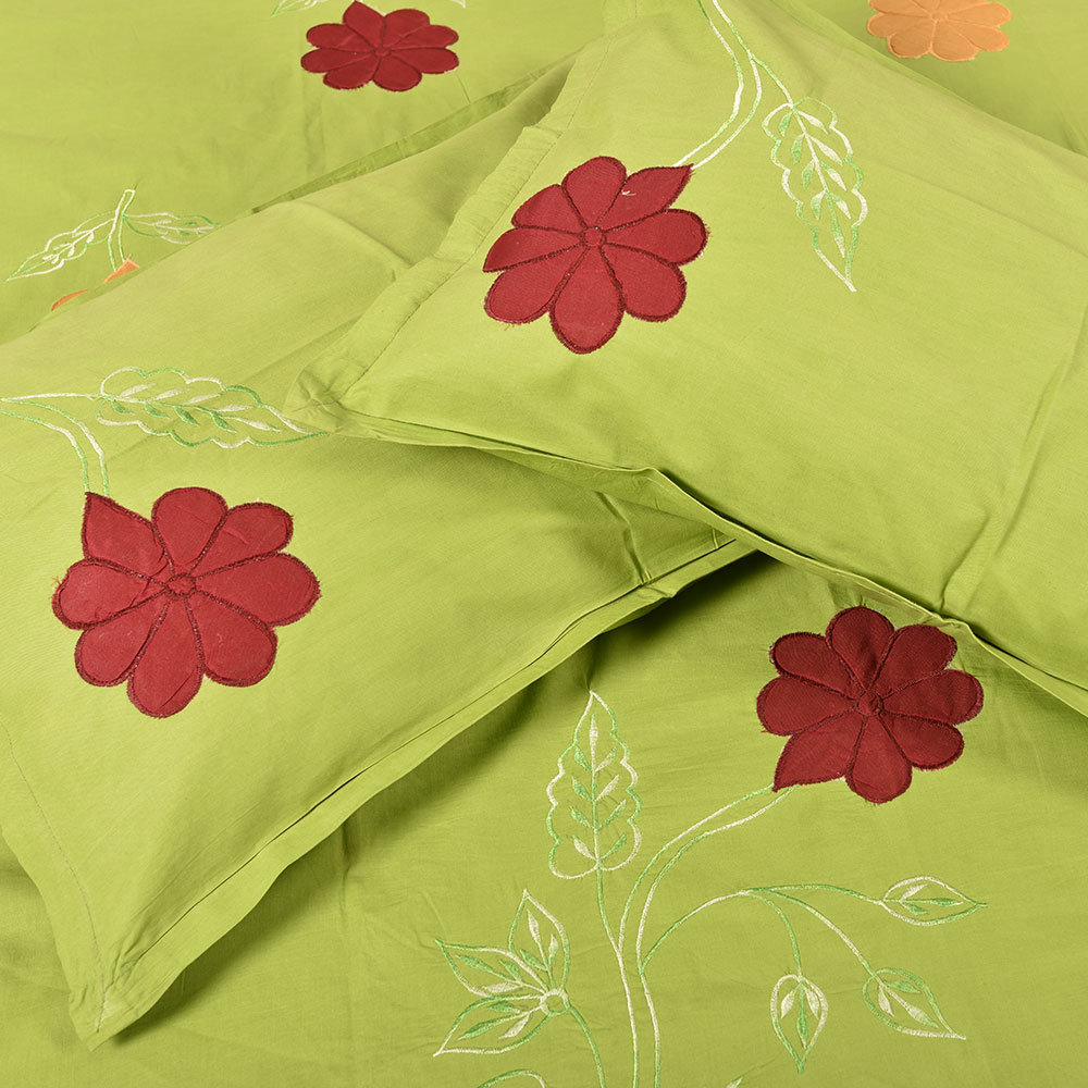 Green Handmade Bed Sheet Linen with Red & Orange Floral Design Beautiful Decorative Stylish
