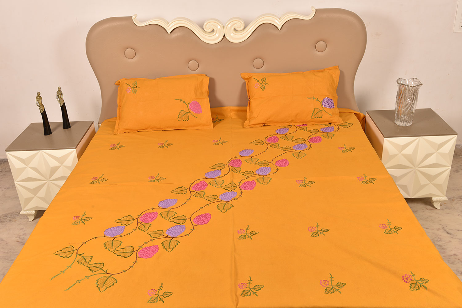 Orange Handmade Bed Sheet Linen with Pink & Purple Floral Design Beautiful Decorative Stylish