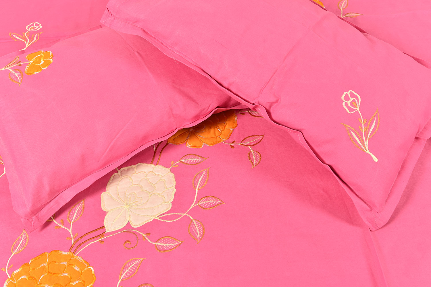 Pink Handmade Bed Sheet Linen with Yellow & White Floral Design Beautiful Decorative Stylish
