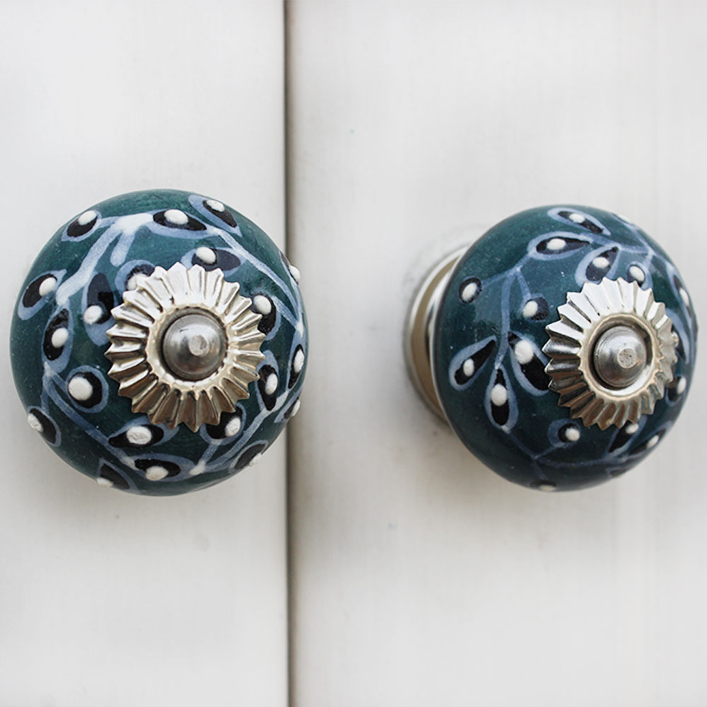Dark Green Leaf Cabinet Knob