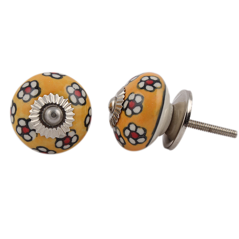 Yellow Tiny Flower Cabinet Knob