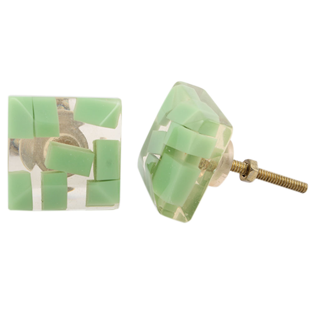 Sage Green Resin Square Knob