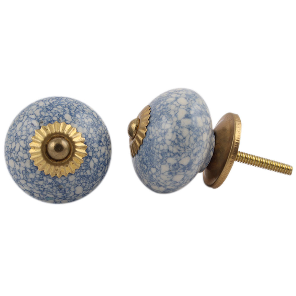 Slate Blue Crackle Ceramic Drawer Knob