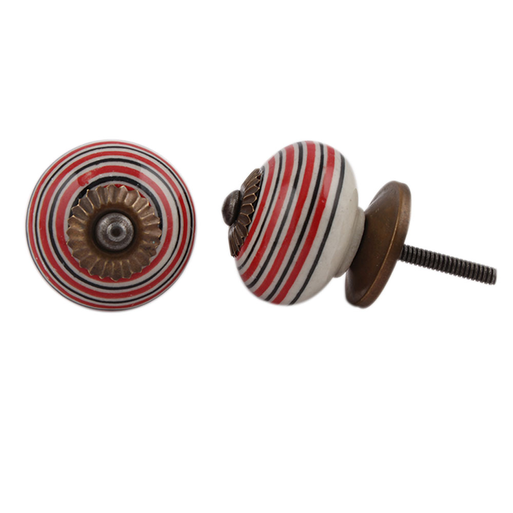 Red Black Striped Knobs