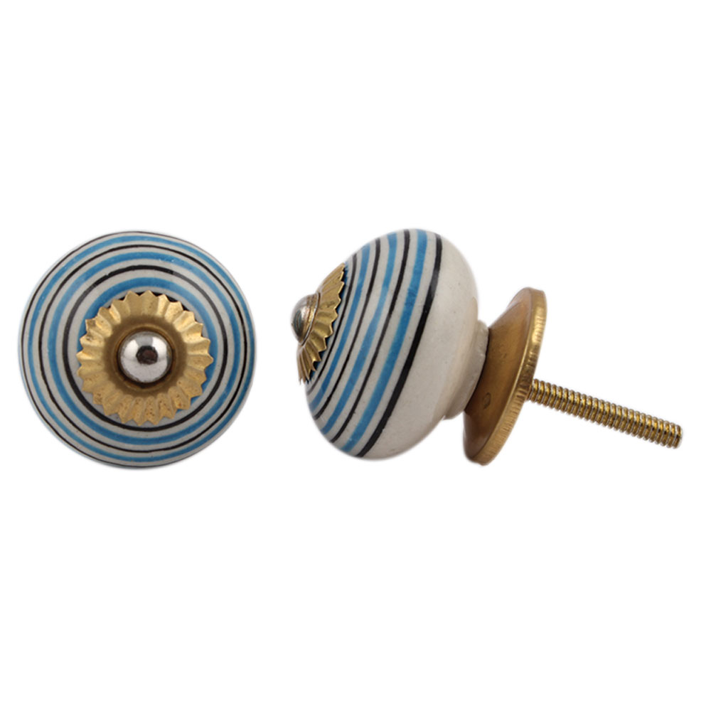 Turquoise Black Striped Knobs