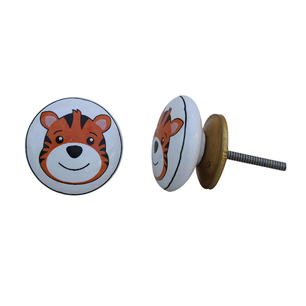 Tiger Face Flat Ceramic Knob